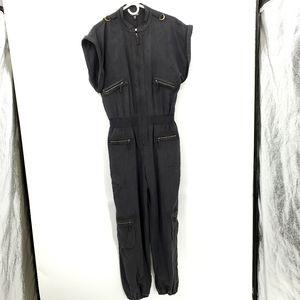 Bebe Utility silk jumpsuit medium black